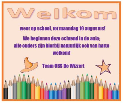 welkom weer op school zomer 2019
